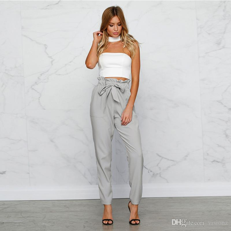93d9f59043a5 2019 Palazzo Pants Ladies High Waist Casual Harem Pants Women Summer  Trousers Khaki Work Office Formal Pants Female From Visionz, $13.07 |  DHgate.Com