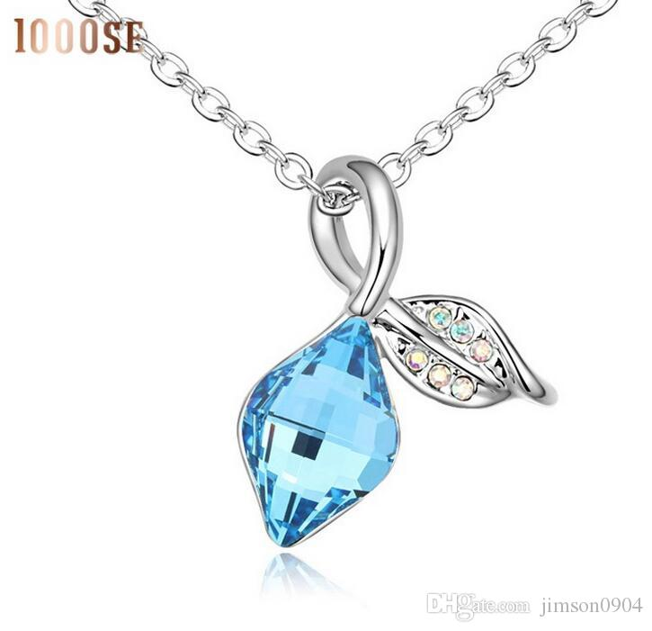 2017 new 1000se Quality goods Crystal Necklace Leaves swaying dance jewelry woman Ornaments Pendant sale