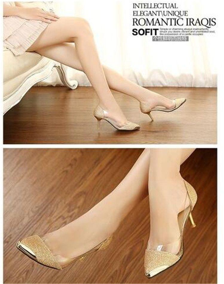 Hochzeit Bankett Abschlussball Einzel Schuhe Damen spitzen Zehen Schuhe Abschluss High Heels Lady Stilettos Absatz 6,5 cm Glitter Transparent