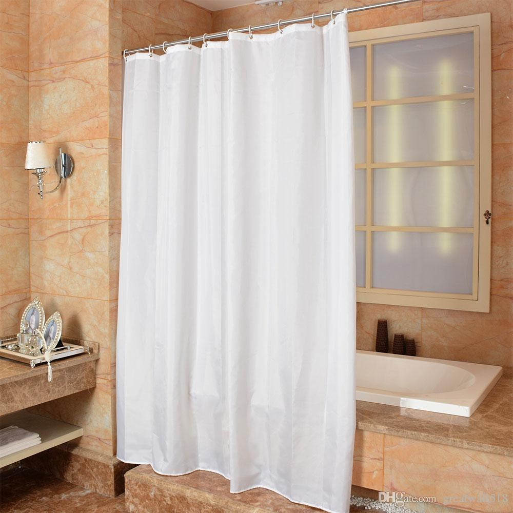 Waterproof Shower Curtain 100% Polyester mildew thick Bathroom Curtains white solid color Pattern with Hooks Free wholesale LJ027