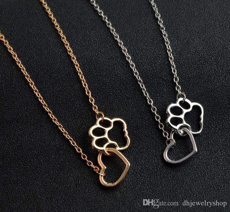 A pata do gato do amante mulheres Moda Pet Imprimir Coração Pingente Amor Ouro / Prata Gargantilha simples declaração Collar Colar
