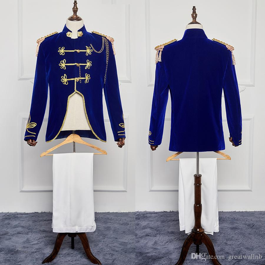 mens period costume royal blue general Medieval stage performance/Prince charming fairy William /civil war/Colonial Belle