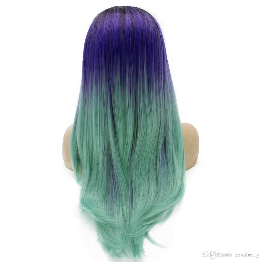 """24"""" Long Ombre Violet Purple Blue Two Tone Silky Straight Half Hand Tied Heat Resistant Synthetic Fiber Lace Front Fashion Wig S02"""
