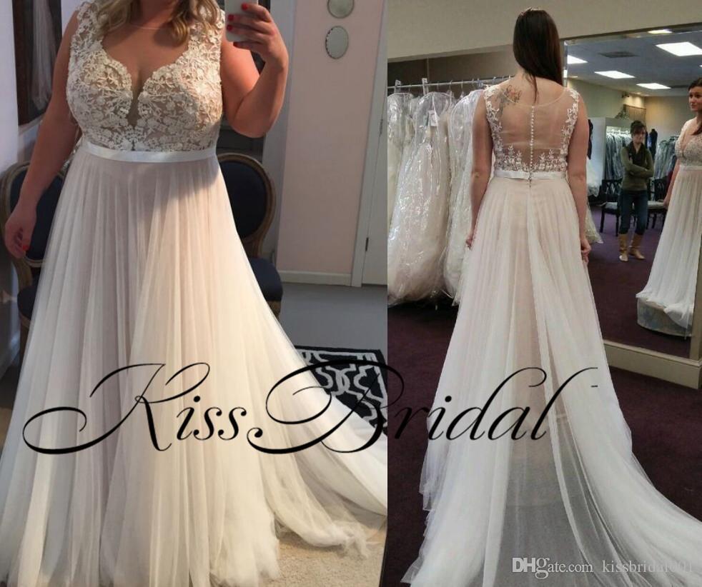 3f8966ca24d Discount Plus Size Lace 2018 Lace Wedding Dresses A Line Simple Cheap  Bridal Gowns Illusion Back Wedding Reception Dress Bride Dresses Dress For  Wedding ...