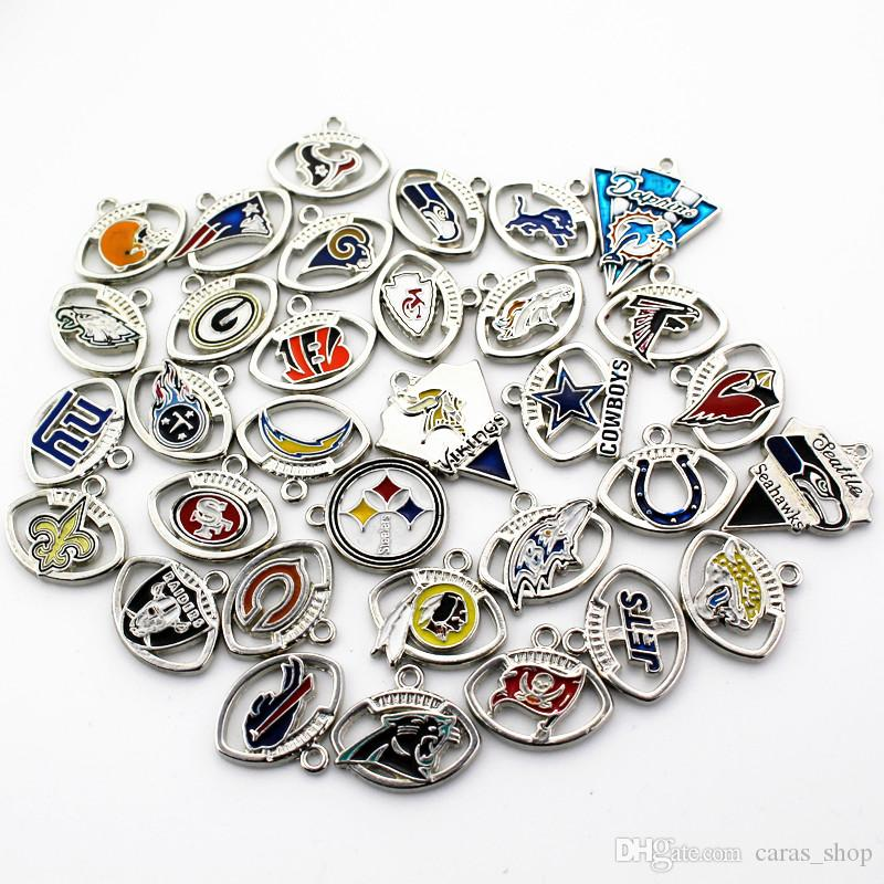 Mix 32 Designs Football Team Charms Dangle Hanging Charms DIY Bracelet Necklace Jewelry Accessory America Sports Floating Charms