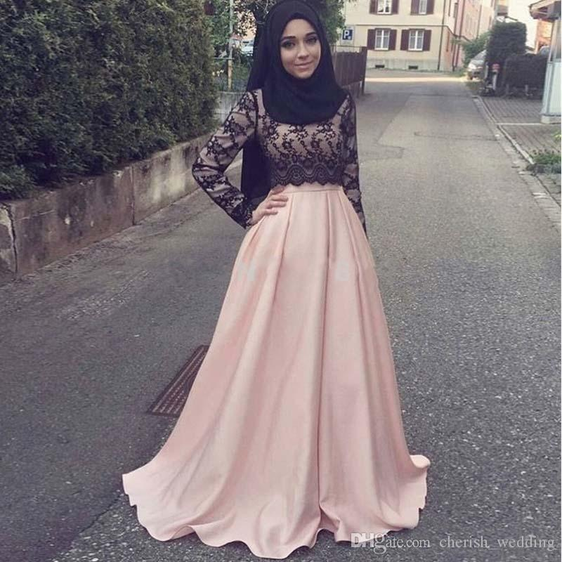 Pink Lace Muslim Evening Gown A Line Formal Long Satin Lace Top Long ...