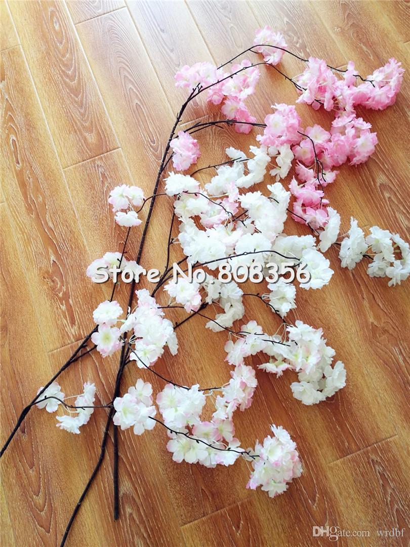 가짜 벚꽃 꽃 분기 베고니아 사쿠라 나무 줄기 행사 130cm 길이 결혼식 용 인공 장식 꽃