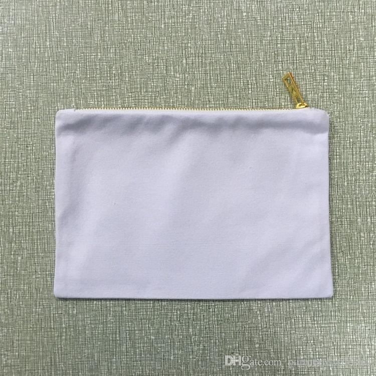 Canvas clutch bag pure cotton gift cosmetic bag blank canvas party gift makeup bag 7x10 inches with gold metal zipper