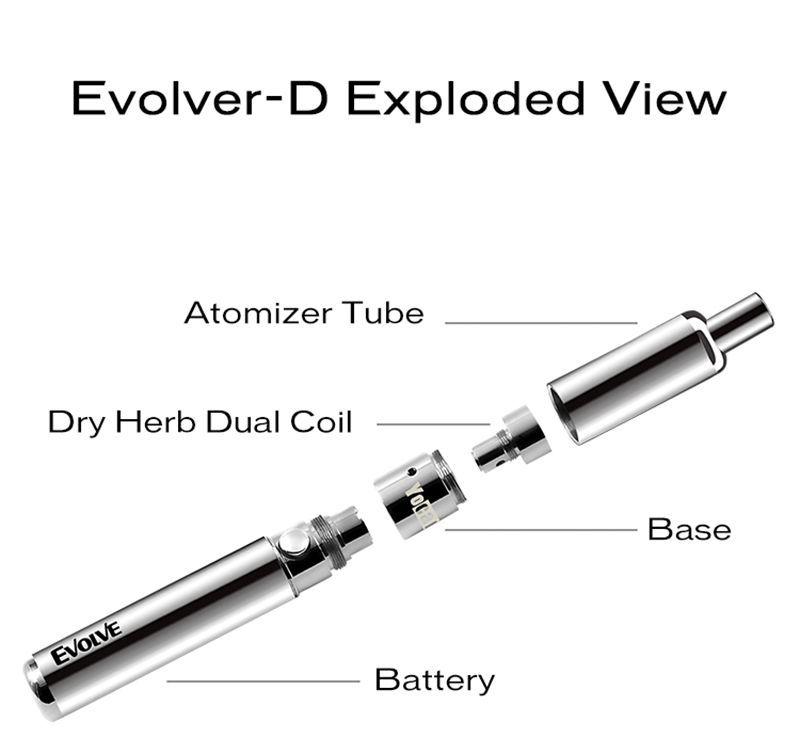 Authentic Yocan Evolve-D Starter Kit Vaporizer Pen Dry Herb Vaporizer Kit With Pancake Dual Coils 650mAh Battery Ego Thread Atomizer
