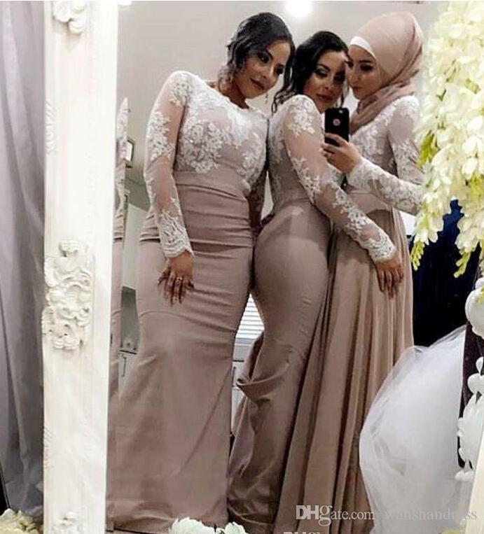 2018 Champagne sirena vestidos de dama de honor con mangas largas de encaje musulmán árabe árabe vestido de invitados por encargo vestido de ocasión especial