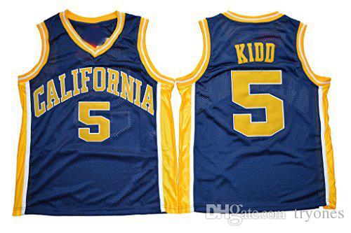 Erkek Kaliforniya Golden Ayı Jason Kidd Koleji Basketbol Formaları Vintage # 5 Lacivert Gömlek Üniversitesi Dikişli Jersey S-XXXL