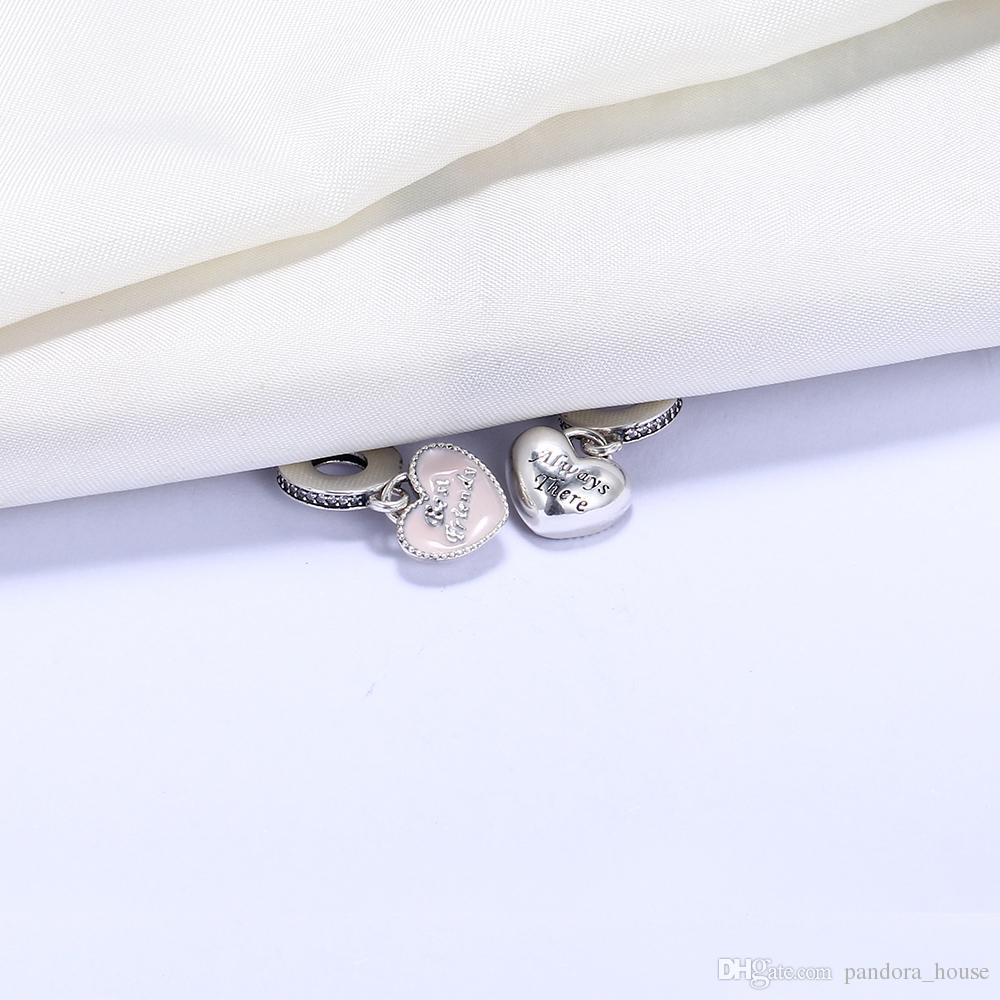 En gros 925 Sterling Silver Pas Plaqué Meilleur Ami Toujours Là Pendentif Charme Charmes Européens Perles Fit Pandora Chaîne Bracelet DIY Bijoux