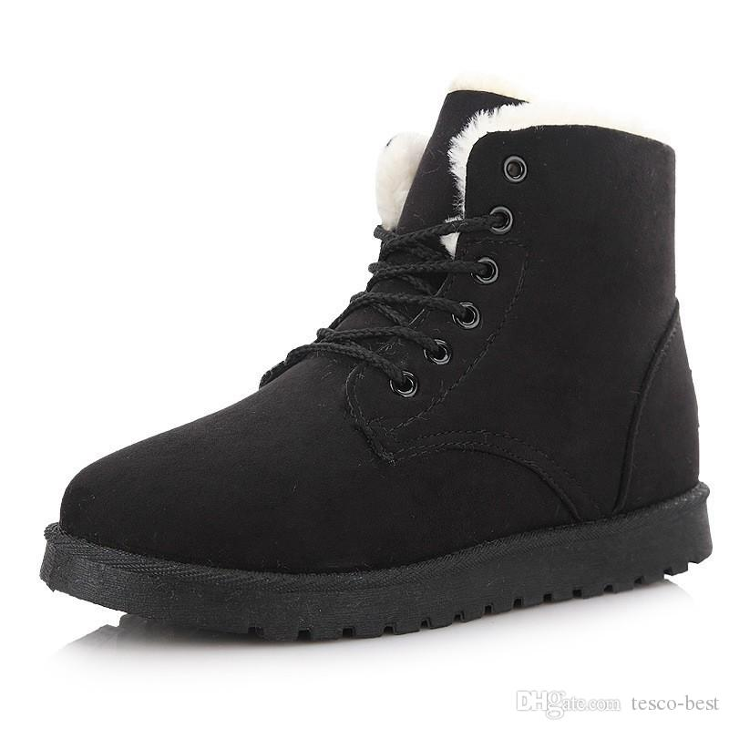 04061352396 Suede Snow Boots Lace Up Bootie Super Thick Antificial Short Plush Lining Boot  Women Winter Shoes Round Toe Waterproof Flat Heel Ankle Boots Boot Socks ...