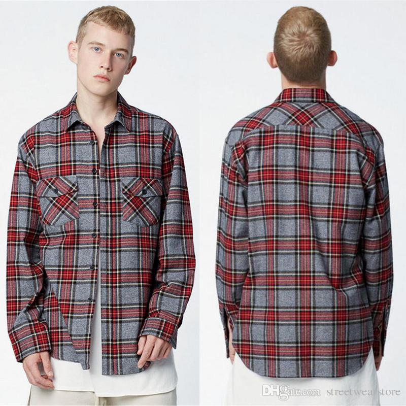 f8b0771b72 Compre Camisas Kanye West High Street Hombres Camisa A Cuadros Franela Roja  FOG Harajuku Fahion Crew Dobladillo Hip Hop Oversized Clothes M L XL A   49.75 ...