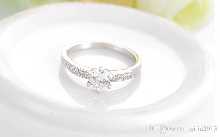 Ehering Klassische Design Echt Platin Überzogene 6 Zinken 0.5ct Simulierte Diamant Versprechen Ringe Für Frauen CRI0049-B