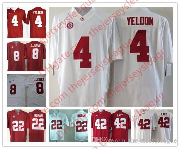 0de1eea5c 2019 NCAA Mens Alabama Crimson Tide  8 Julio Jones 22 Mark Ingram 42 Eddie  Lacy 4 TJ Yeldon Red White Stitched College Jerseys S 3XL From  Thejerseysleague