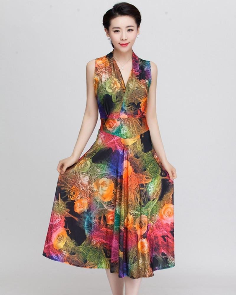 2017 Summer Style Women Dress Floral Print Dress V Neck Sleeveless ...