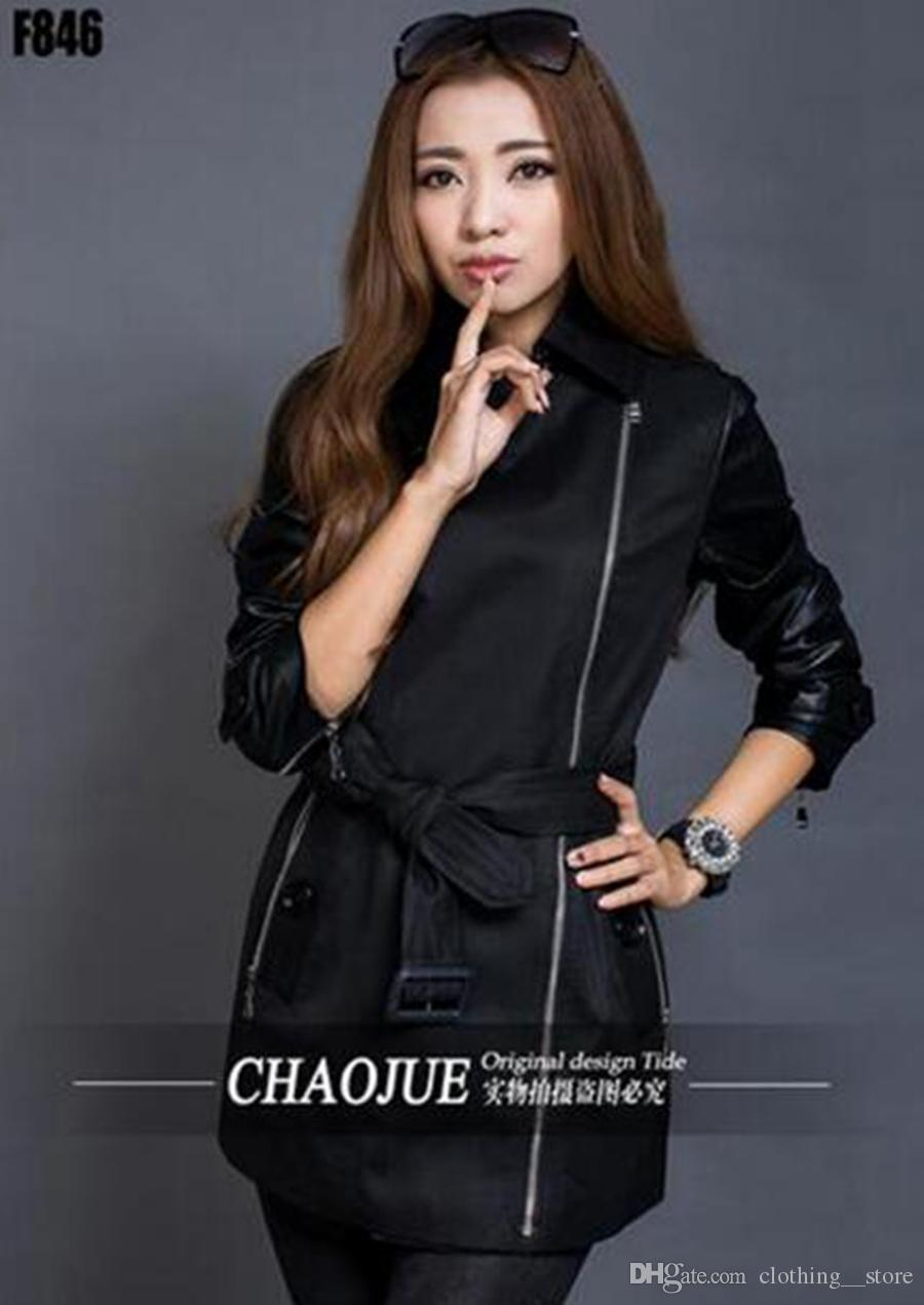 Women in the spring and autumn fashion handsome long thin zipper spell leather trench coat of cultivate one's morality / S-3XL