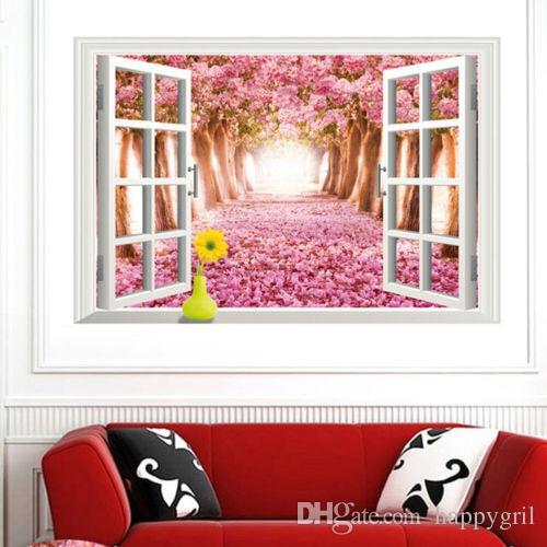 Wallpaper Sticker Bedroom 3D Window Cherry Blossom Tree Art Home ...