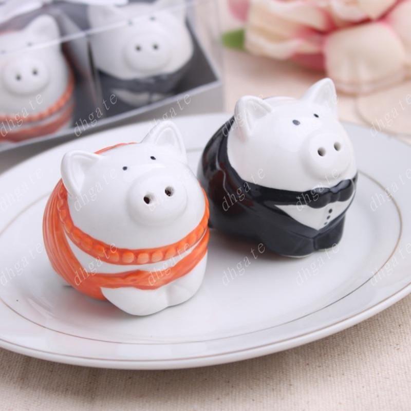 Chaud = 100box Orange et noir / blanc et noir couleur mariée mariée de porc Shakers Salière de mariage cadeaux de douche nuptiale ..
