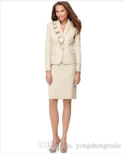 Beige Women Business Suit Suits For Women Notch Collar Two Button Tailor Women Suit 629