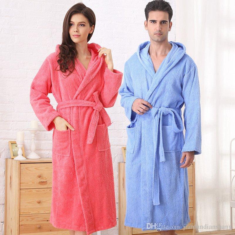 8961ae5681 2019 Cotton Bathrobe Women Hooded Sleepwear Bathrobes For Girls Blanket  Towel Robe Thickening Lovers Medium Long Super Soft Plus Size From  Jianfandianshang