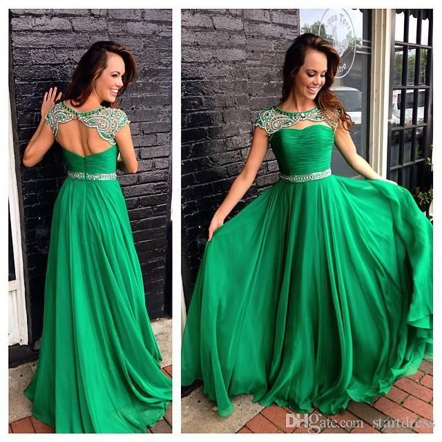 Discount Emerald Green Prom Dresses Keyhole Neck Cap Sleeve Beaded Evening Dress Sexy Open Back Formal Dresses Long Holiday Juniors Prom uk