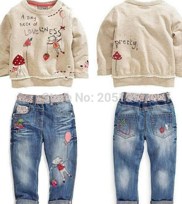 a8791b5409c4 2019 Wholesale 2015 New Winter Baby Girls Clothing Set Children Kids ...