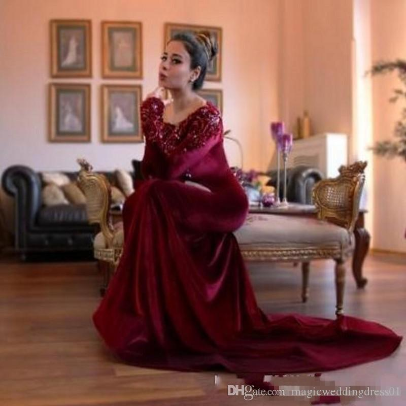 2016 Burgundy Velet Gorgeous Long Sleeves Aso Ebi Evening Dresses with Beaded Appliques Collar Mermaid Arabic Formal Prom Party Gowns Cheap