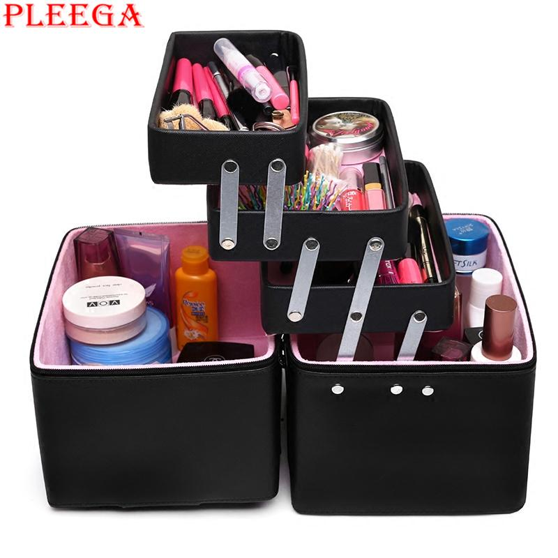2018 Whole Pleega New Women Cosmetic Organizer Makeup Box. Vanity Case Makeup Trolley Box Pink ...