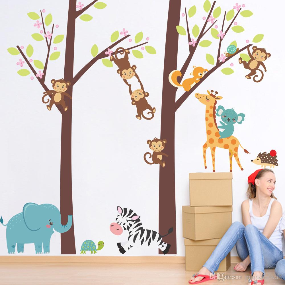 Cartoon Squirrel Monkey Climbing Tree Wall Stickers Kids Boys Girls Babies Infant Room Decor Wallpaper Poster Giraffe Zebra Elephant Graphic