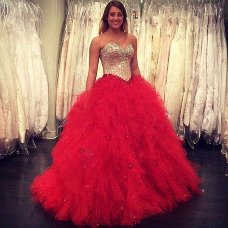 1334b5896 Compre Vestidos De Quinceañera De Cristal Rojo De Lujo Cariño Con Cuentas  De Talla Grande Dulce 16 Vestido De Gala Vestido De Gala Vestidos De Gala A  ...