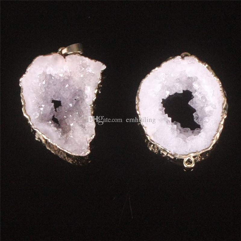 2019 HOT ! Nature Agate Freeform Pendant White Raw Geode Druzy Random Size Connector Irreguar Shape Double Hoop Drusy Bead Charm Jewelry
