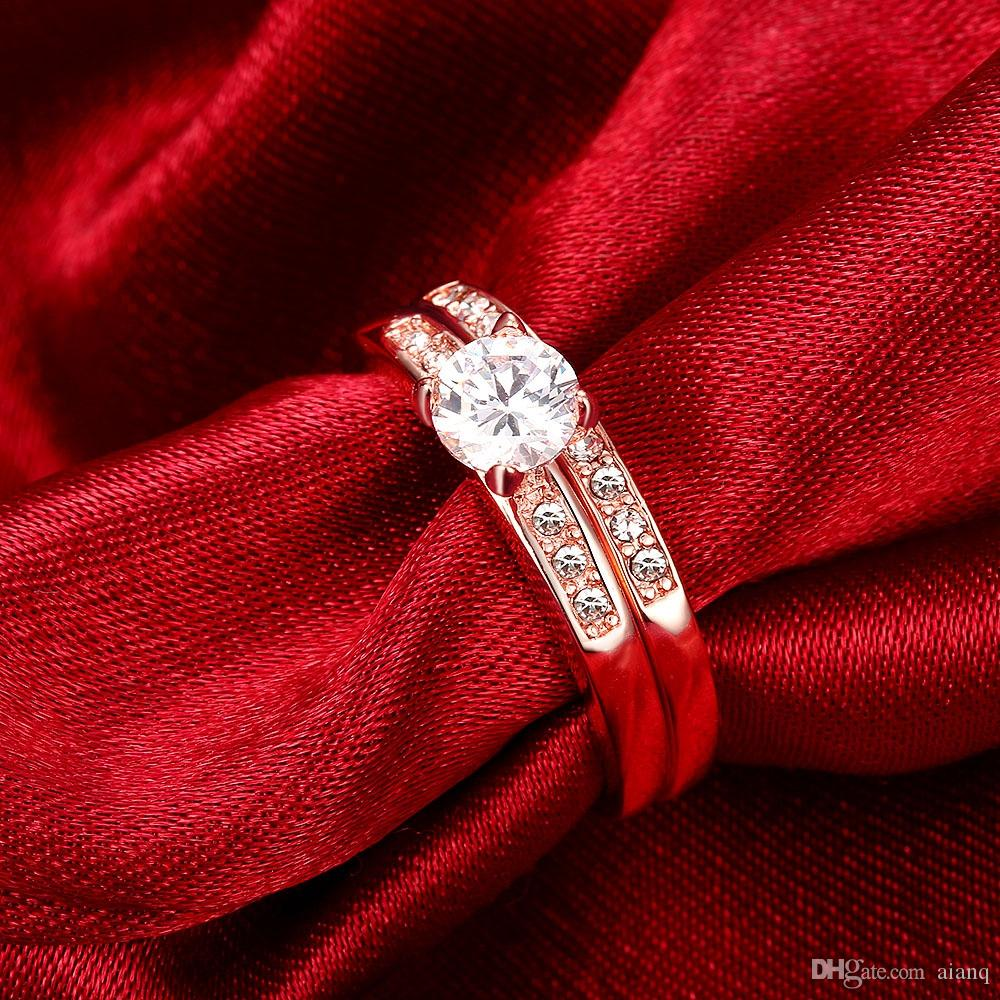 Fashion Classic Style Double Ring Ladies Crystal Wedding Ring Cubic Zirconia Engagement Double Ring New Design Rose Gold / Silver Promise