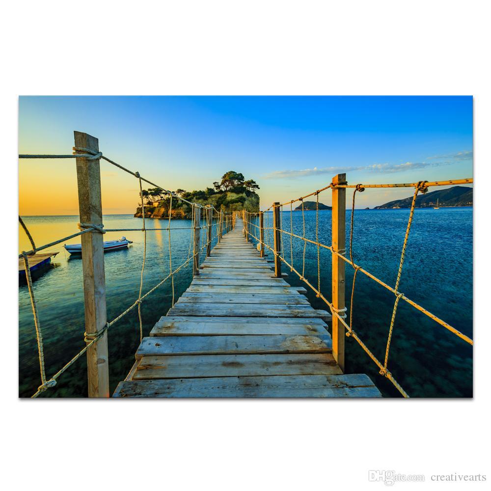 Satın Al 1 Panel Hd Baskılı Doğa Manzara Boyama Köprüsü Için Küçük