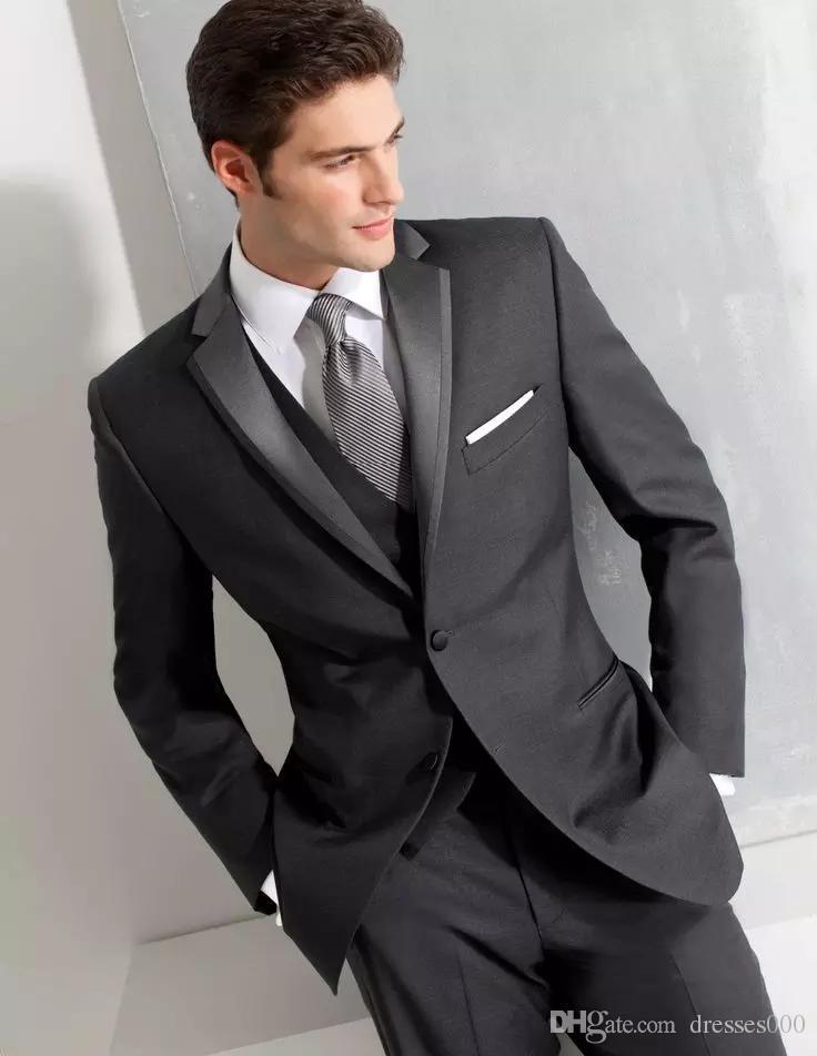 2017 2018dark Grey Tuxedos Wedding Suits For Men British Style Custom Made Mens Suit Slim Fit Blazer Pant Tie031 Online