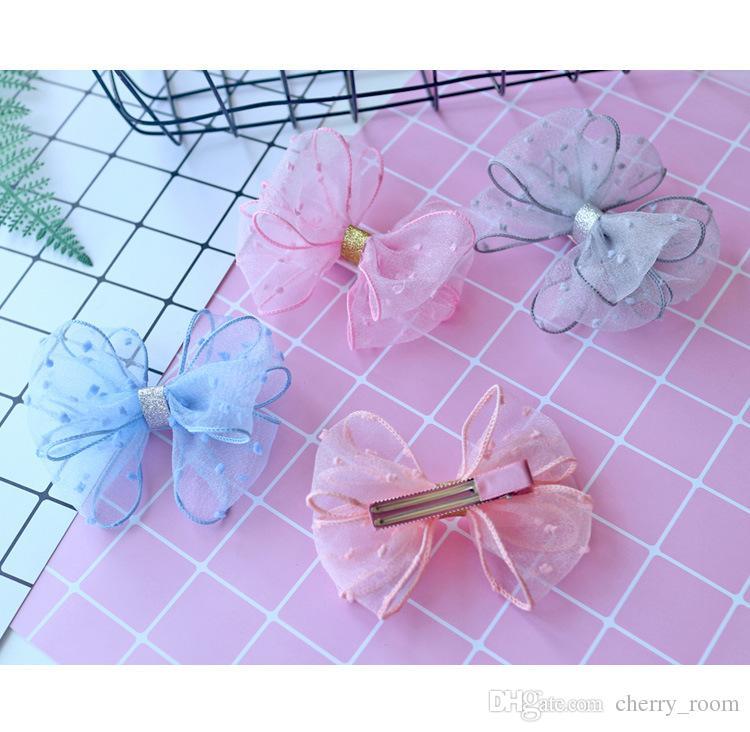 NOUVEAU HOT Ruban Bow épingle à cheveux Clips Filles Gaze dentelle bowknot cheveux Boutique enfants Barrette Bows Enfants Accessoires cheveux Rose Bleu Gris A7392