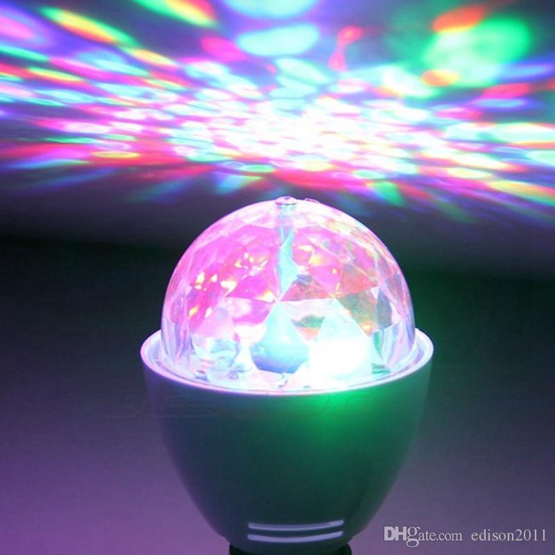 Edison2011 New 3W E27 B22 RGB Lighting Full Color LED Crystal Stage Light Auto Rotating Stage Effect DJ Lamp Mini Stage Light Bulb