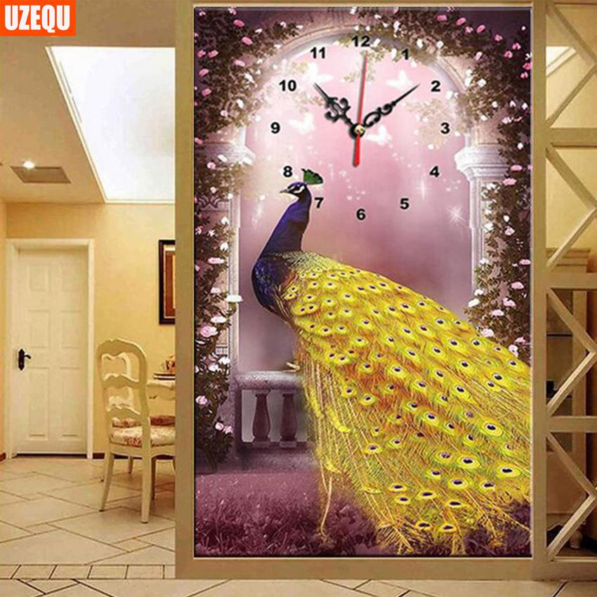 UzeQu Full Diamond Embroidery Wall Clock 5D DIY Diamond Painting ...
