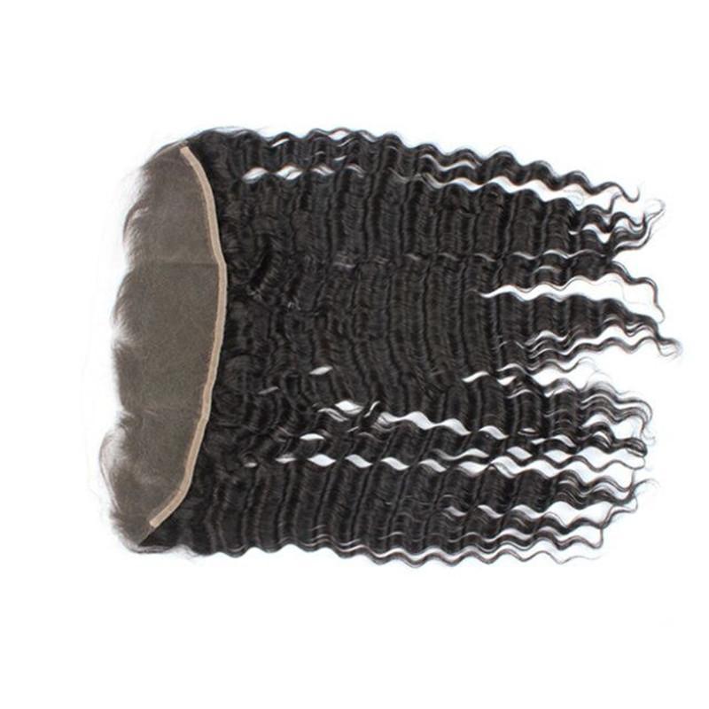 귀 13x4 인치를하려면 레이스 정면 폐쇄 8A 말레이시아 인도 페루 크메르어 브라질 인간의 머리 깊은 파 폐쇄 표백 된 매듭 귀