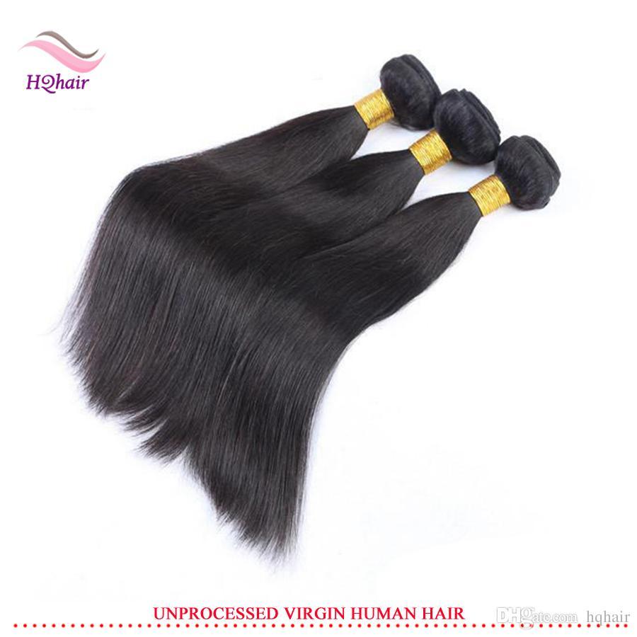 Mejor calidad virginal indio del pelo humano armadura / paquetes del pelo recto sin procesar brasileño peruano malasio extensión del pelo 8-30 pulgadas