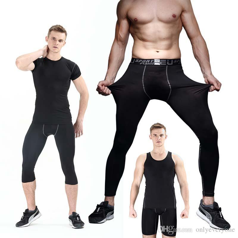 Мужские сжатия узкие брюки базовый слой дышащей работает леггинсы