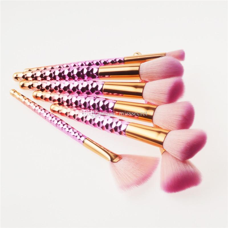 Rainbow Thread Spiral Makeup Brushes Set Foundation Power Blush Blusher Eyeshadow Mermaid Make Up Brush Beatuy Cosmetic tool kits