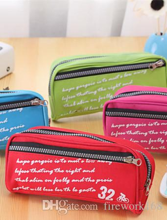 Contracted Oxford Canva Pen Bag Zipper Pencils Box Cases For School Volute Zipper Package Multifunction Makeup Cosmetic Packet