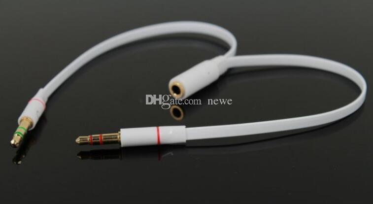 Hot A / V Zubehör 3,5mm Vergoldet Audio Mic Y Splitter Kabel Kopfhörer Adapter Buchse Auf 2 Stecker Kabel für PC Laptop