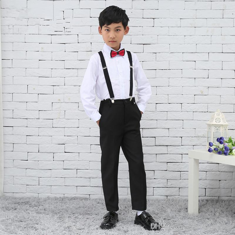 Simple Bow Suspenders Boys Suits For Wedding Gentleman Lovely Kids ...