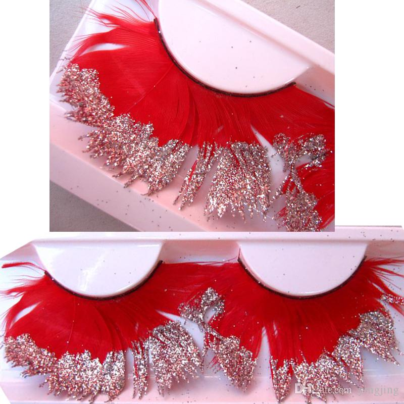 7d87be73bf7 2017 Fashion Show Exaggerated Stage Makeup False Eyelashes Thick Red  Sequined Glitter Eye Lashes Handmade Cotton Stems Fake Eyelashes False  Eyelashes Lash ...