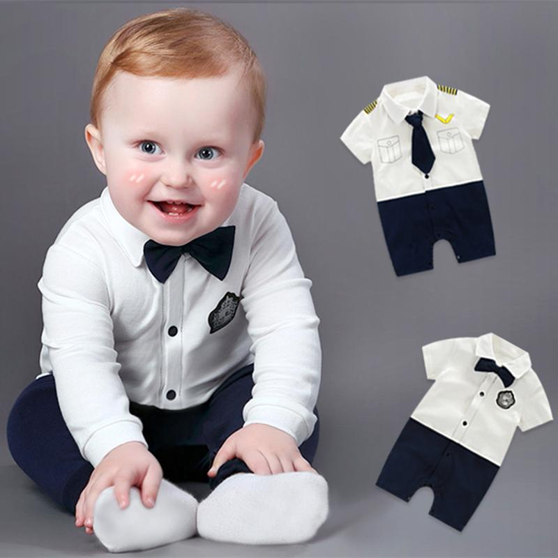 bf0b51cb9 2019 Handsome Baby Rompers Infant Newborn 0 18M Bow Romper Costume ...