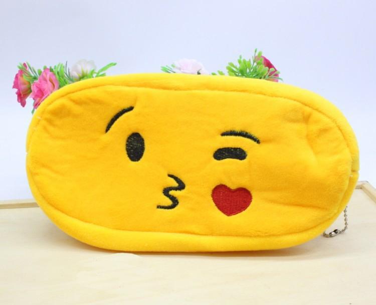 Pikachu Bolsas de lápices Emoji Felpa Cremallera Cosmética BOLSA 9 Estilos Monedero de escritura Materiales de oficina Oficina Papelería escolar bolsos regalos para niños