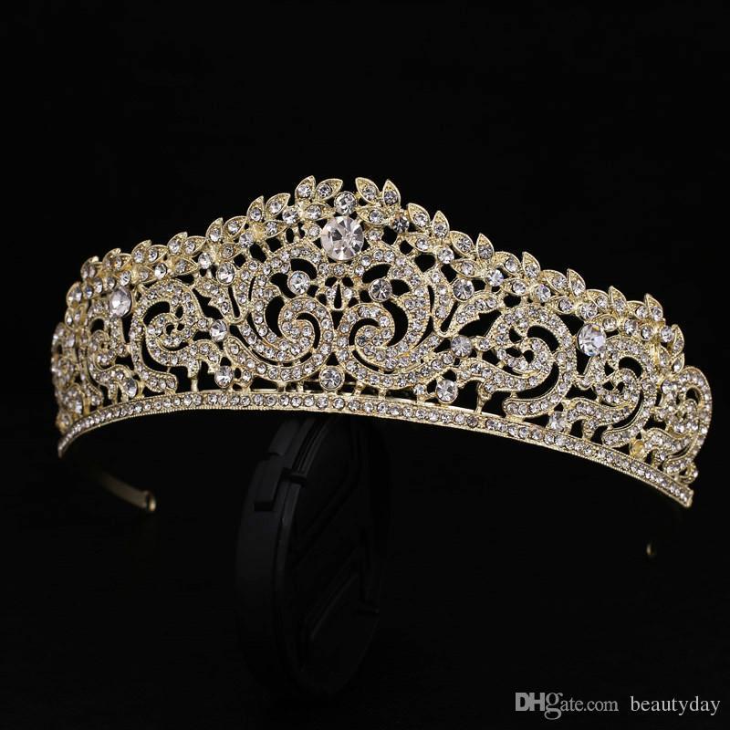 Or Plaqué De Mariage Couronne De Demoiselle D'honneur De Mariée Fleur Filles Cristal tiare Strass couronne bandeau Robe De Mariage Studio Tiara Moulage